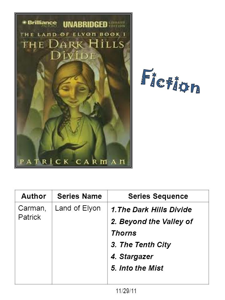 AuthorSeries NameSeries Sequence Carman, Patrick Land of Elyon 1.The Dark Hills Divide 2. Beyond the Valley of Thorns 3. The Tenth City 4. Stargazer 5