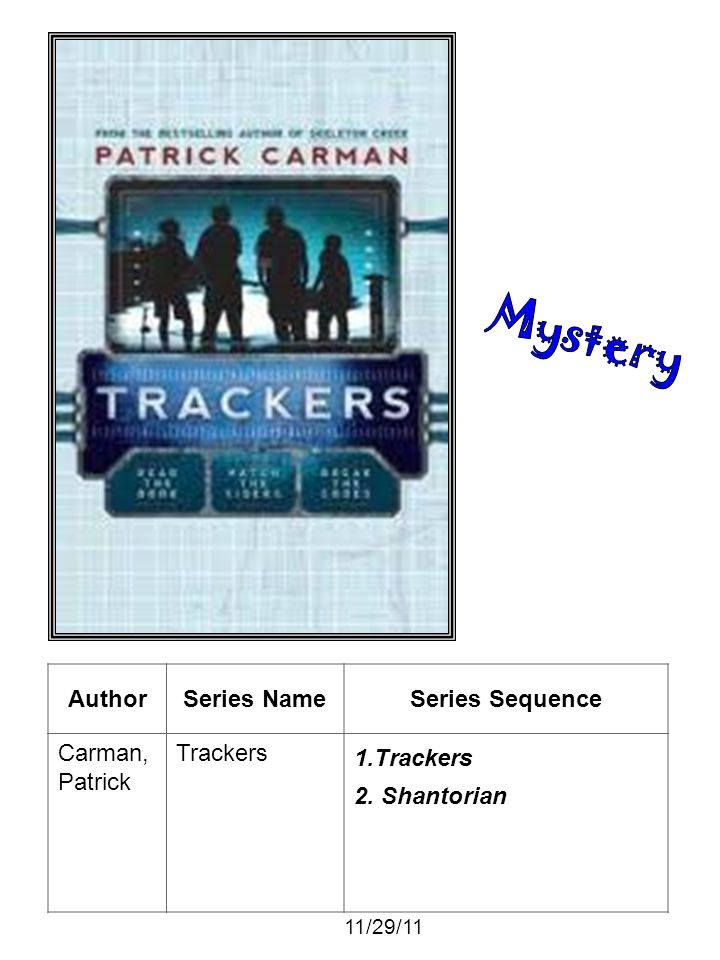 AuthorSeries NameSeries Sequence Carman, Patrick Trackers 1.Trackers 2. Shantorian 11/29/11