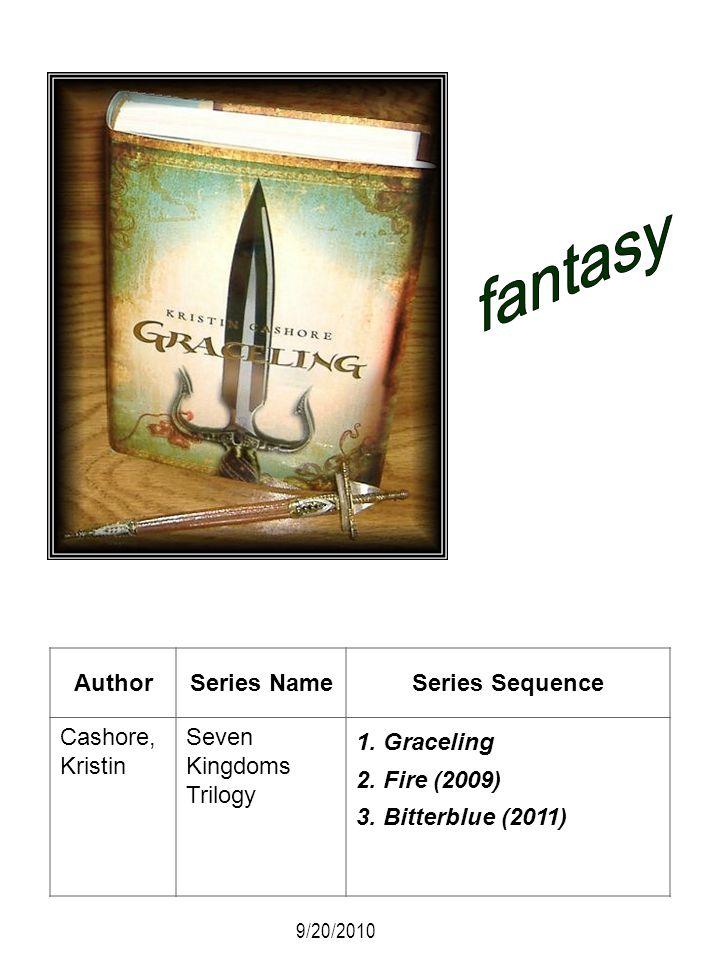 AuthorSeries NameSeries Sequence Cashore, Kristin Seven Kingdoms Trilogy 1. Graceling 2. Fire (2009) 3. Bitterblue (2011) 9/20/2010