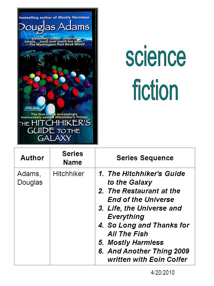 Author Series Name Series Sequence Adams, Douglas Hitchhiker 1.The Hitchhiker's Guide to the Galaxy 2.The Restaurant at the End of the Universe 3.Life