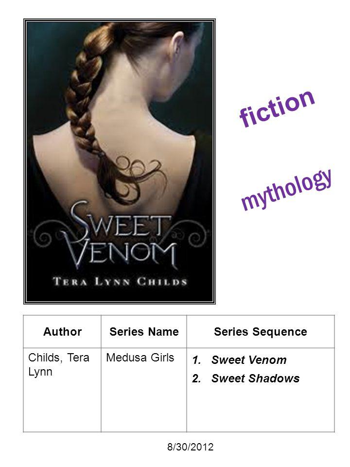 AuthorSeries NameSeries Sequence Childs, Tera Lynn Medusa Girls 1. Sweet Venom 2. Sweet Shadows 8/30/2012 fiction mythology