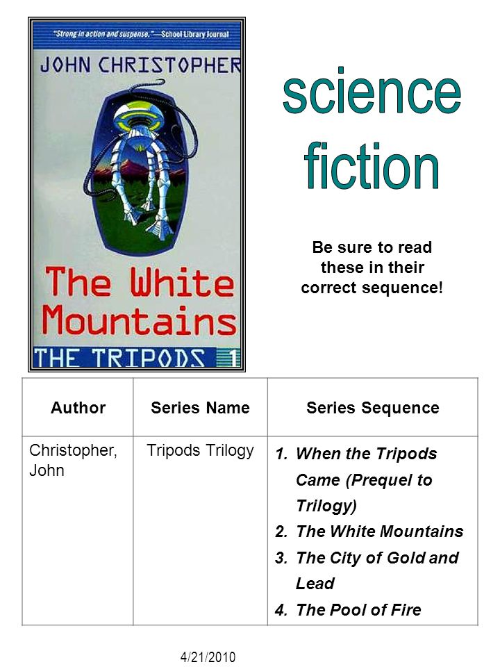 AuthorSeries NameSeries Sequence Christopher, John Tripods Trilogy 1.When the Tripods Came (Prequel to Trilogy) 2.The White Mountains 3.The City of Go