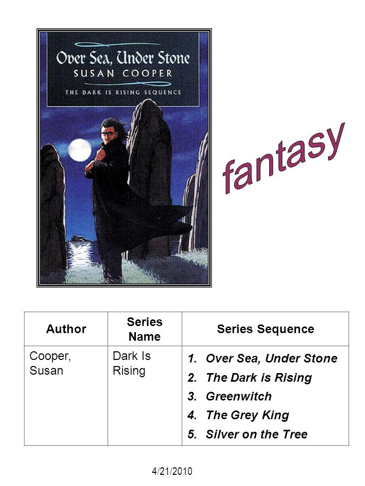 Author Series Name Series Sequence Cooper, Susan Dark Is Rising 1.Over Sea, Under Stone 2.The Dark is Rising 3.Greenwitch 4.The Grey King 5.Silver on