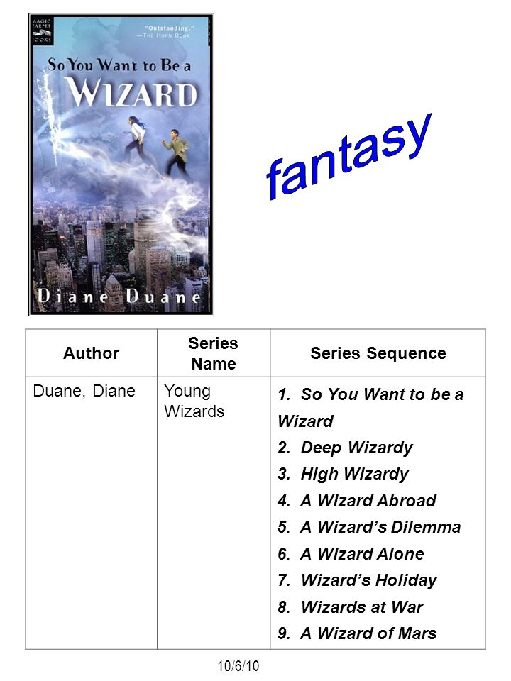Author Series Name Series Sequence Duane, DianeYoung Wizards 1. So You Want to be a Wizard 2. Deep Wizardy 3. High Wizardy 4. A Wizard Abroad 5. A Wiz