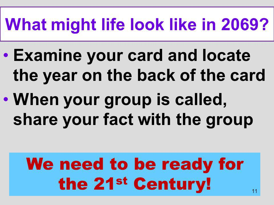 What might life look like in 2069? Examine your card and locate the year on the back of the card When your group is called, share your fact with the g