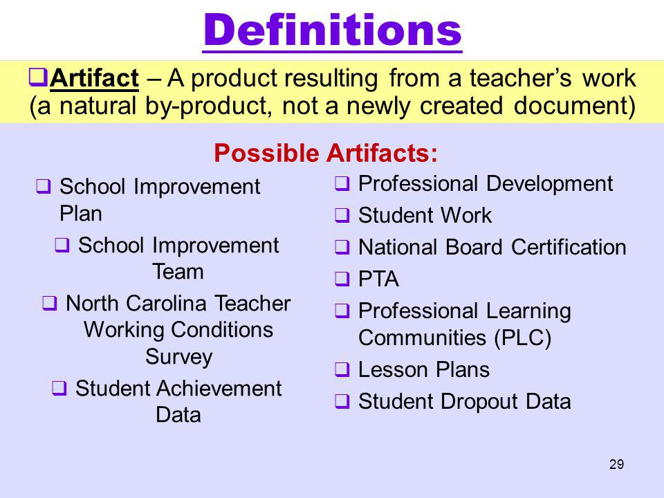 Possible Artifacts: School Improvement Plan School Improvement Team North Carolina Teacher Working Conditions Survey Student Achievement Data Professi