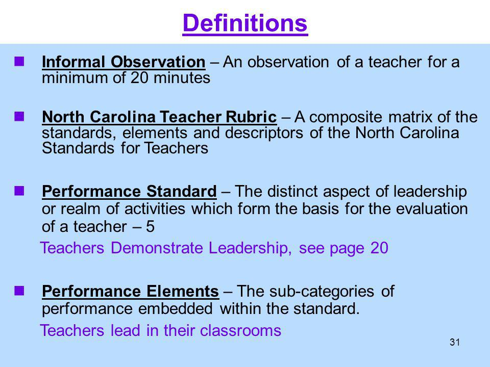 Informal Observation – An observation of a teacher for a minimum of 20 minutes North Carolina Teacher Rubric – A composite matrix of the standards, el