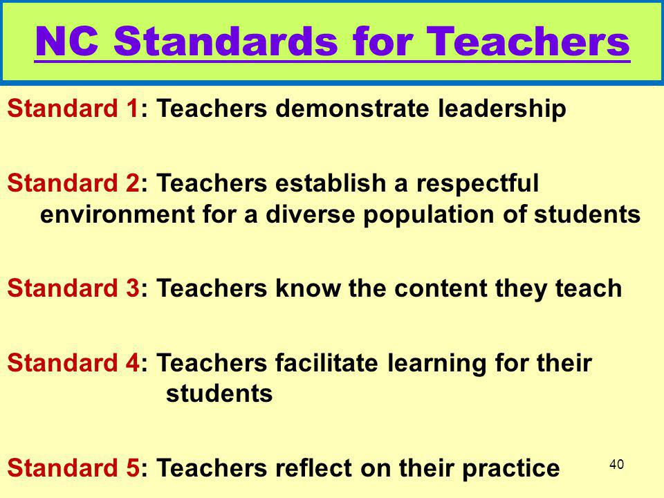 NC Standards for Teachers Standard 1: Teachers demonstrate leadership Standard 2: Teachers establish a respectful environment for a diverse population