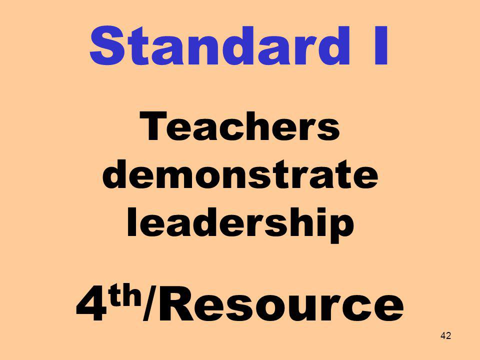 Standard I Teachers demonstrate leadership 4 th /Resource 42