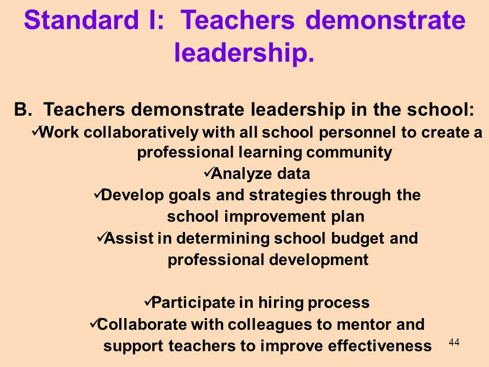 Standard I: Teachers demonstrate leadership. B. Teachers demonstrate leadership in the school: Work collaboratively with all school personnel to creat