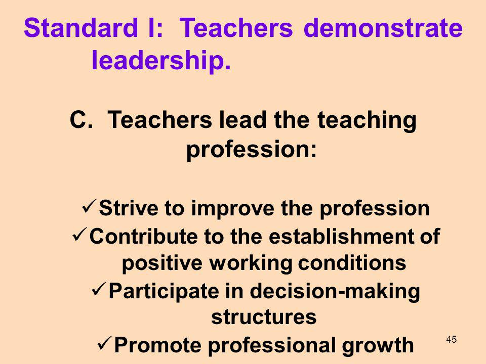 Standard I: Teachers demonstrate leadership. C. Teachers lead the teaching profession: Strive to improve the profession Contribute to the establishmen