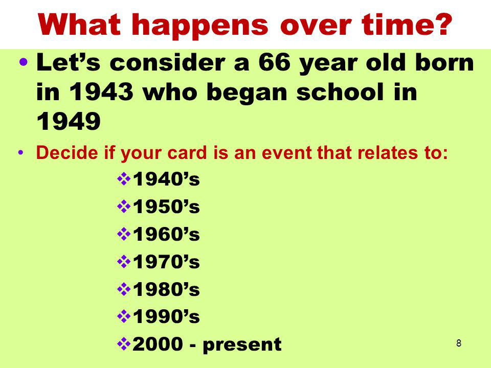 What happens over time? Lets consider a 66 year old born in 1943 who began school in 1949 Decide if your card is an event that relates to: 1940s 1950s