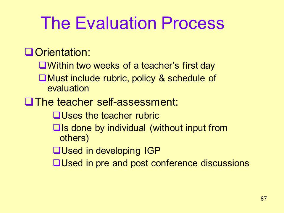 The Evaluation Process Orientation: Within two weeks of a teachers first day Must include rubric, policy & schedule of evaluation The teacher self-ass