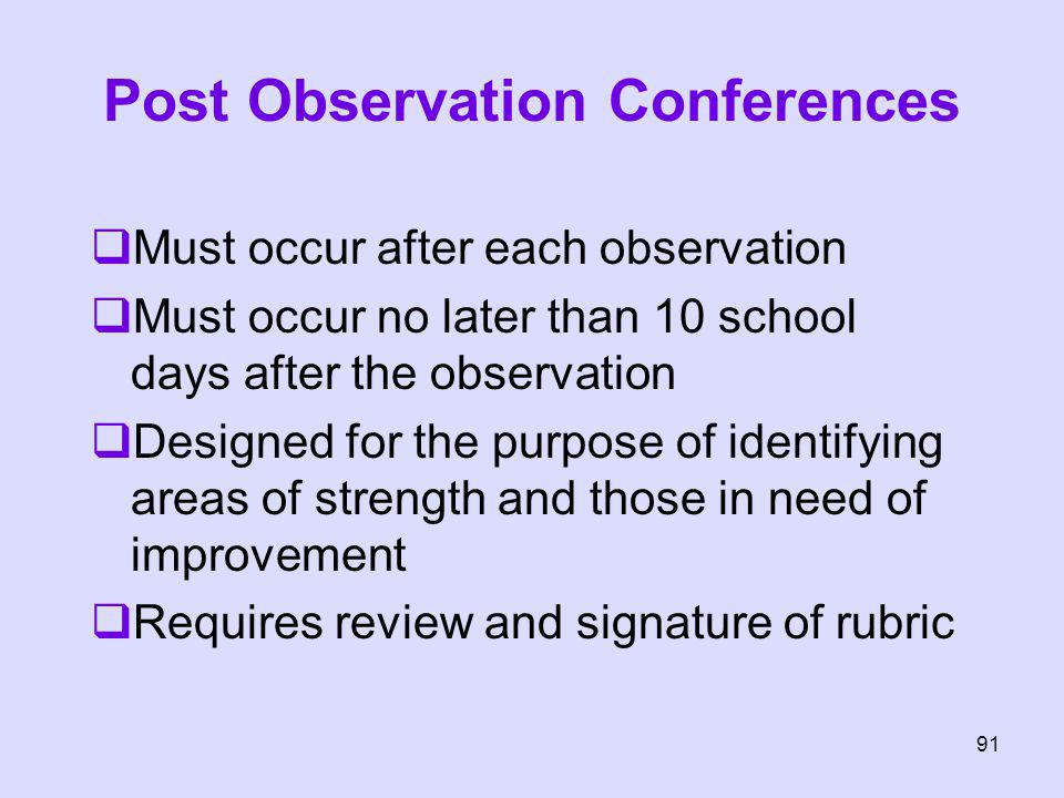 Post Observation Conferences Must occur after each observation Must occur no later than 10 school days after the observation Designed for the purpose