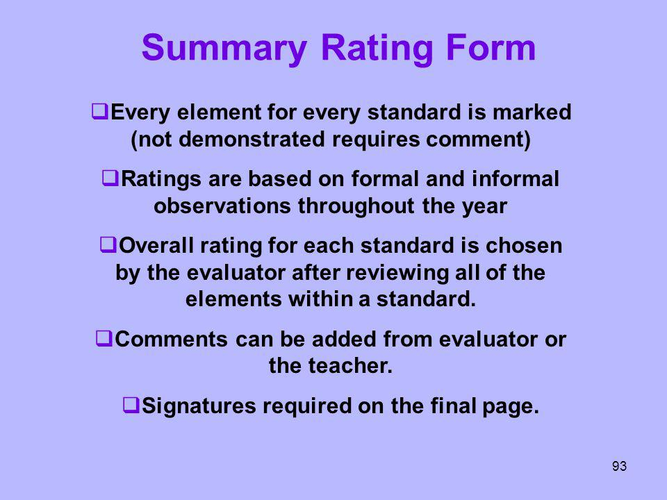 Summary Rating Form Every element for every standard is marked (not demonstrated requires comment) Ratings are based on formal and informal observatio