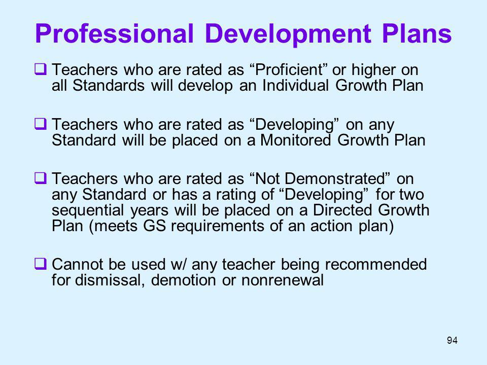 Professional Development Plans Teachers who are rated as Proficient or higher on all Standards will develop an Individual Growth Plan Teachers who are
