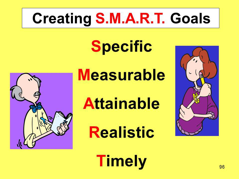 Creating S.M.A.R.T. Goals Specific Measurable Attainable Realistic Timely 96