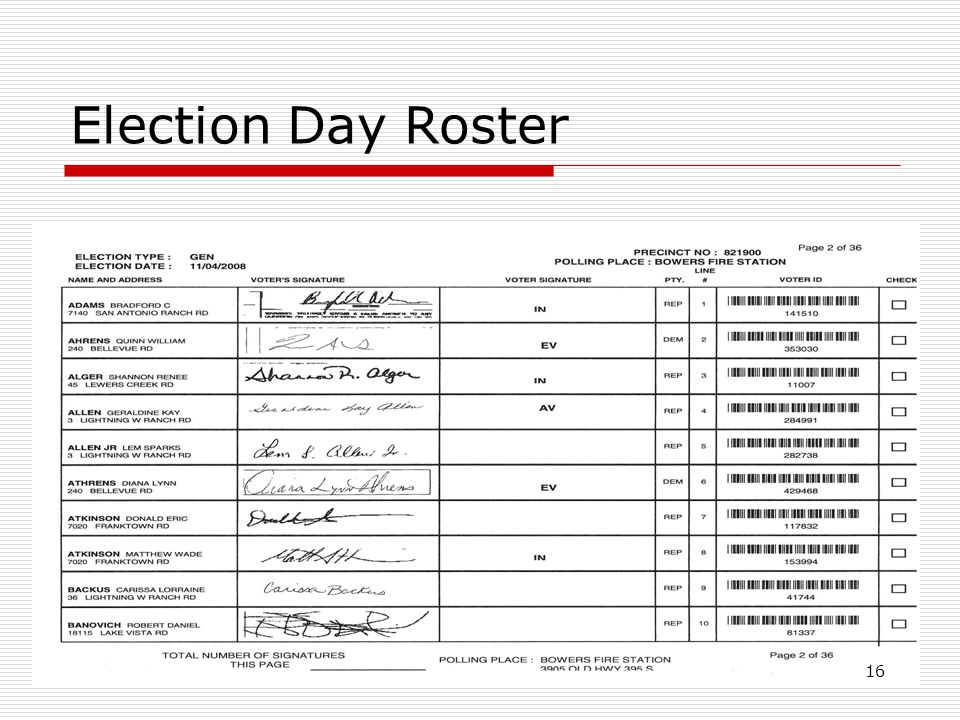 Election Day Roster 16
