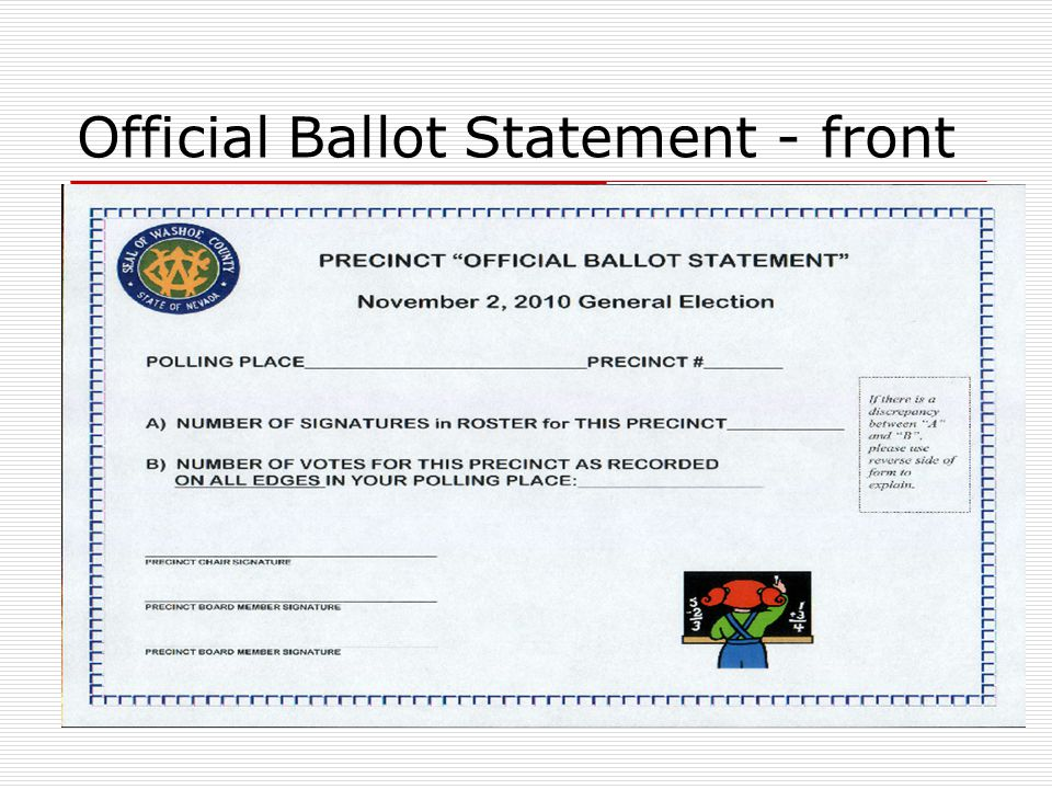 Official Ballot Statement - front PRECINCT OFFICIAL BALLOT STATEMENT