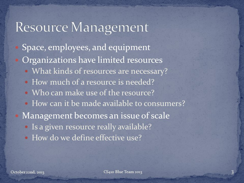 Space, employees, and equipment Organizations have limited resources What kinds of resources are necessary? How much of a resource is needed? Who can