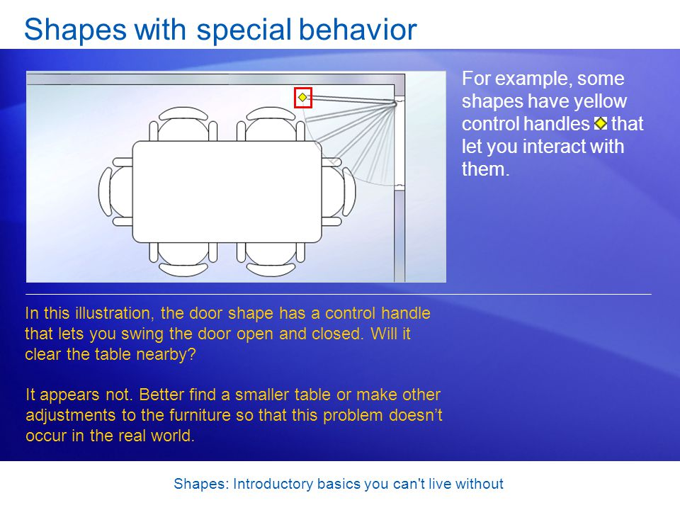 Shapes: Introductory basics you can't live without Shapes with special behavior For example, some shapes have yellow control handles that let you inte