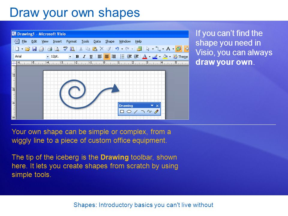 Shapes: Introductory basics you can't live without Draw your own shapes If you cant find the shape you need in Visio, you can always draw your own. Yo