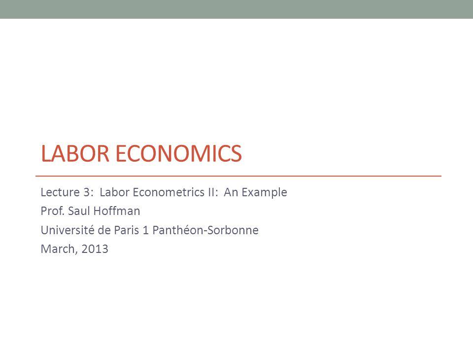 LABOR ECONOMICS Lecture 3: Labor Econometrics II: An Example Prof.