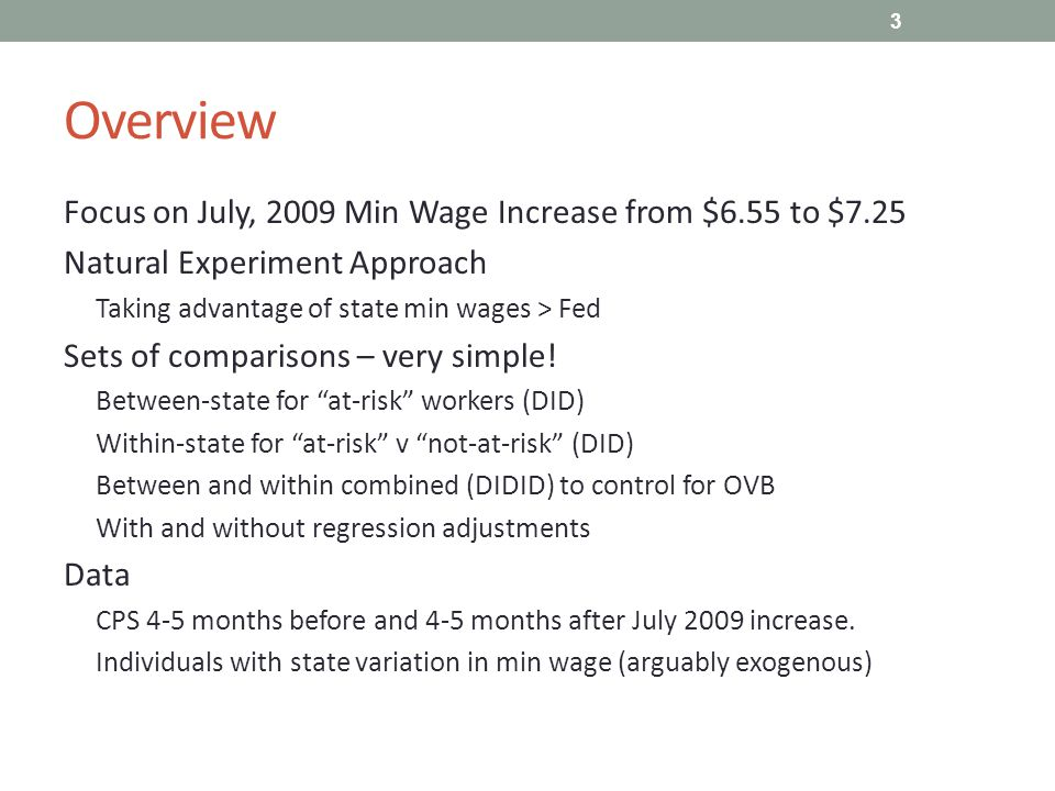 Wrap-Up Neg Empl Effects of Min Wage still hard to find Very simple & direct methodology – no question that this is what is in the CPS data Multiple credible comparisons, with and w/o covariates As always – not definitive, but suggestive 14