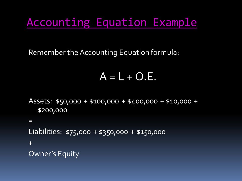 Accounting Equation Example Remember the Accounting Equation formula: A = L + O.E. Assets: $50,000 + $100,000 + $400,000 + $10,000 + $200,000 = Liabil