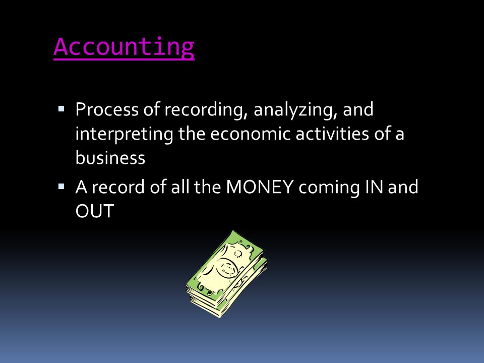 Accounting Process of recording, analyzing, and interpreting the economic activities of a business A record of all the MONEY coming IN and OUT