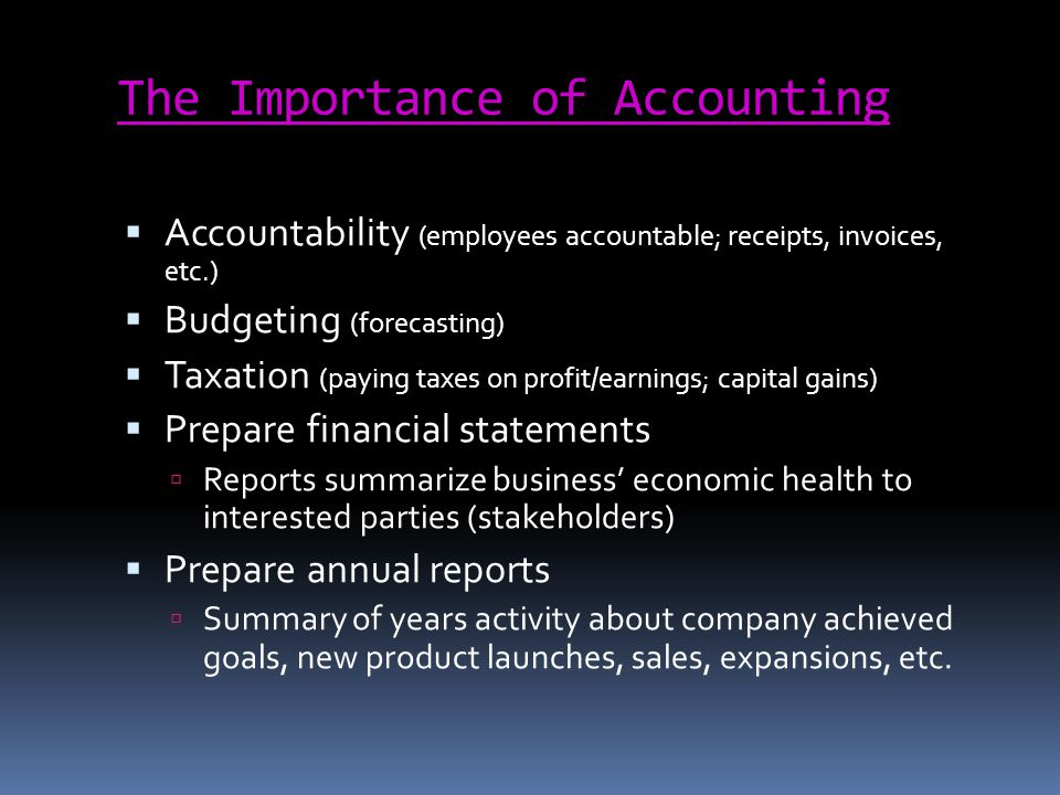 Two Types of Accounting: Financial accounting Recording companys financial position Financial position: financial status of a business with its owners and creditors Management accounting Used within a company to make decisions Ex.