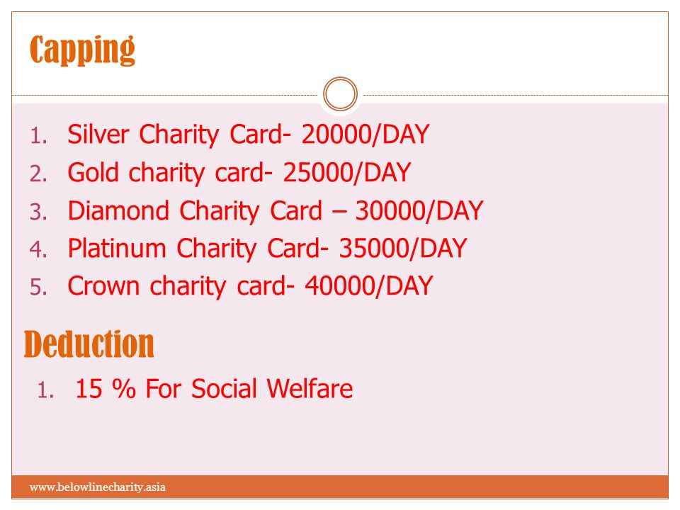 Capping 1. Silver Charity Card- 20000/DAY 2. Gold charity card- 25000/DAY 3. Diamond Charity Card – 30000/DAY 4. Platinum Charity Card- 35000/DAY 5. C