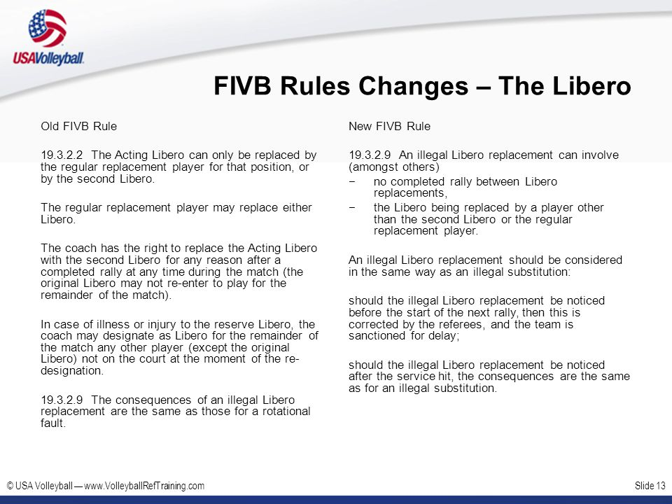 © USA Volleyball www.VolleyballRefTraining.comSlide 13 FIVB Rules Changes – The Libero Old FIVB Rule 19.3.2.2 The Acting Libero can only be replaced b