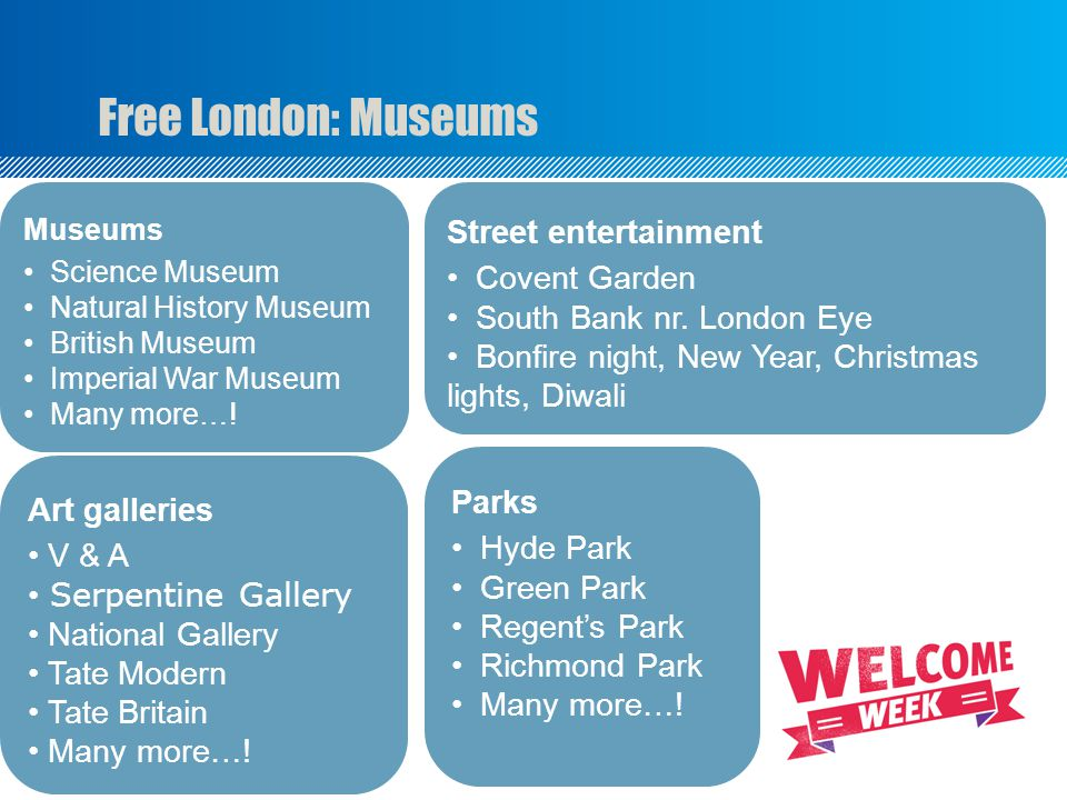 Free London: Museums Museums Science Museum Natural History Museum British Museum Imperial War Museum Many more….
