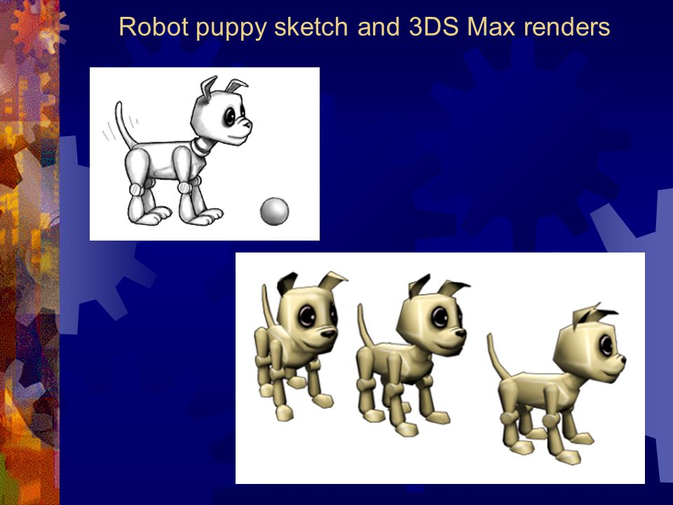 Robot puppy sketch and 3DS Max renders