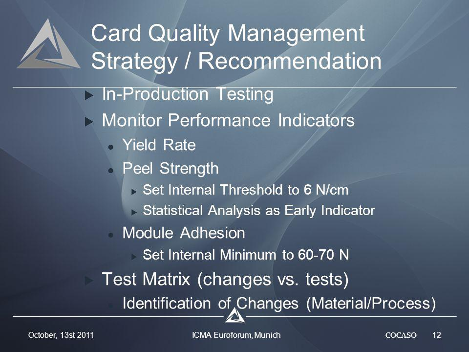 COCASO 12 October, 13st 2011 ICMA Euroforum, Munich Card Quality Management Strategy / Recommendation In-Production Testing Monitor Performance Indicators Yield Rate Peel Strength Set Internal Threshold to 6 N/cm Statistical Analysis as Early Indicator Module Adhesion Set Internal Minimum to 60-70 N Test Matrix (changes vs.