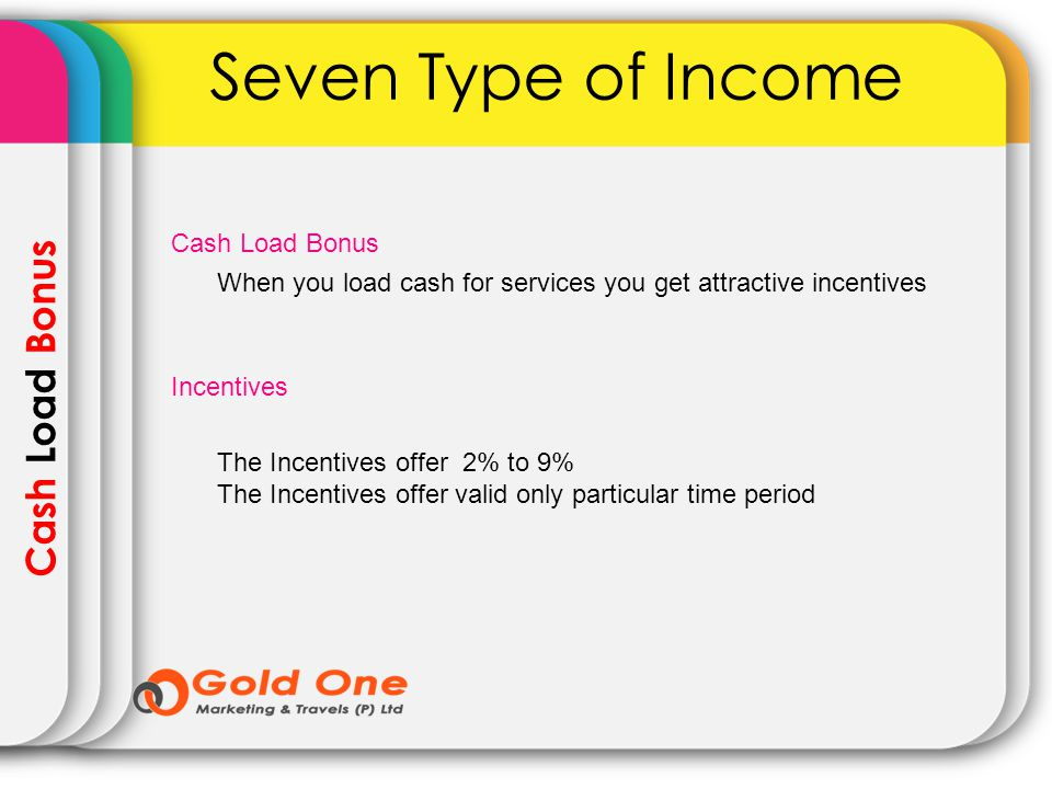 Cash Load Bonus Seven Type of Income When you load cash for services you get attractive incentives Cash Load Bonus Incentives The Incentives offer 2%