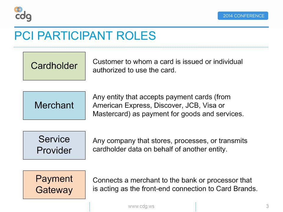 PCI PARTICIPANT ROLES 3www.cdg.ws