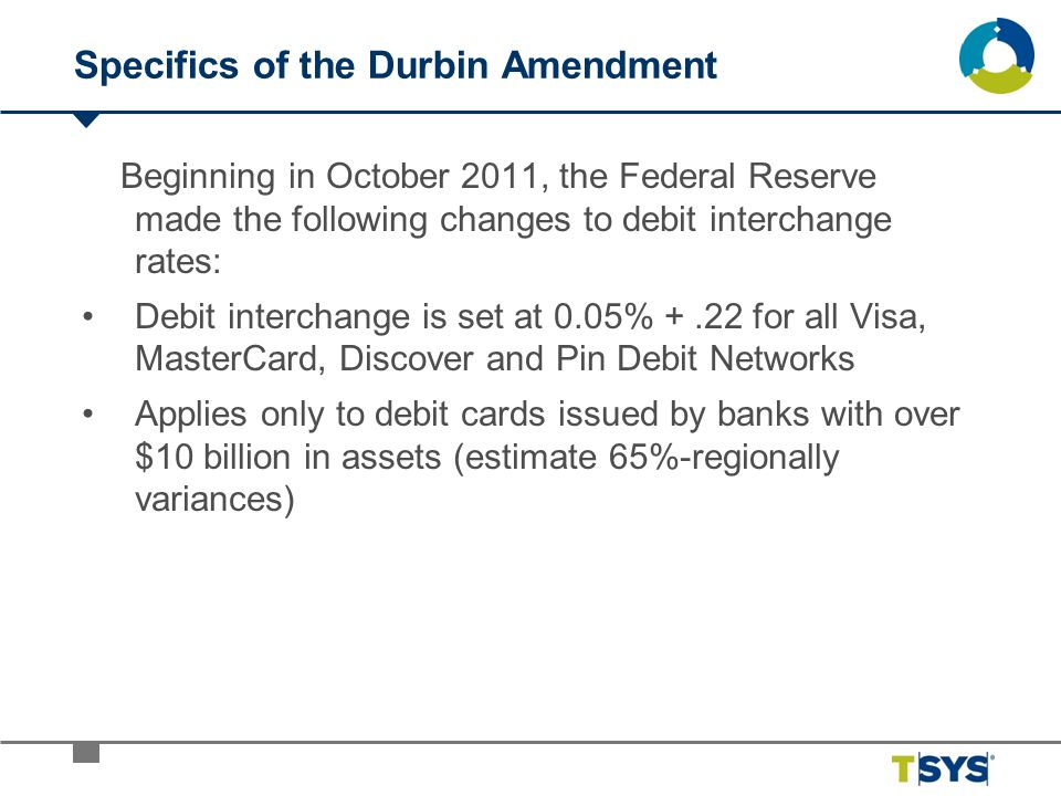 Specifics of the Durbin Amendment Beginning in October 2011, the Federal Reserve made the following changes to debit interchange rates: Debit intercha