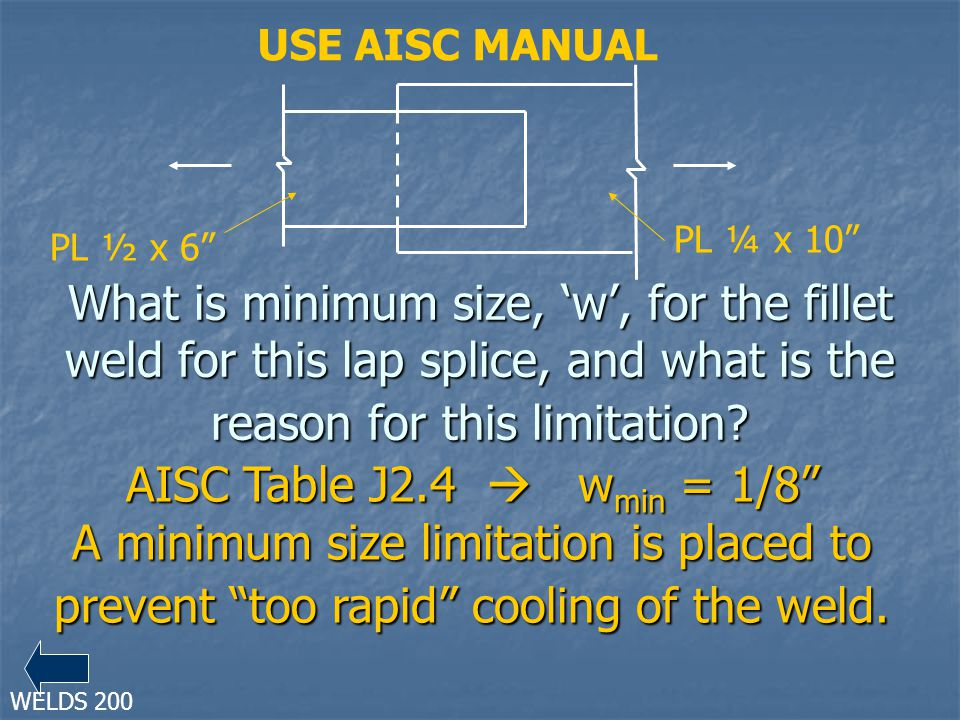 What is minimum size, w, for the fillet weld for this lap splice, and what is the reason for this limitation? AISC Table J2.4 w min = 1/8 A minimum si