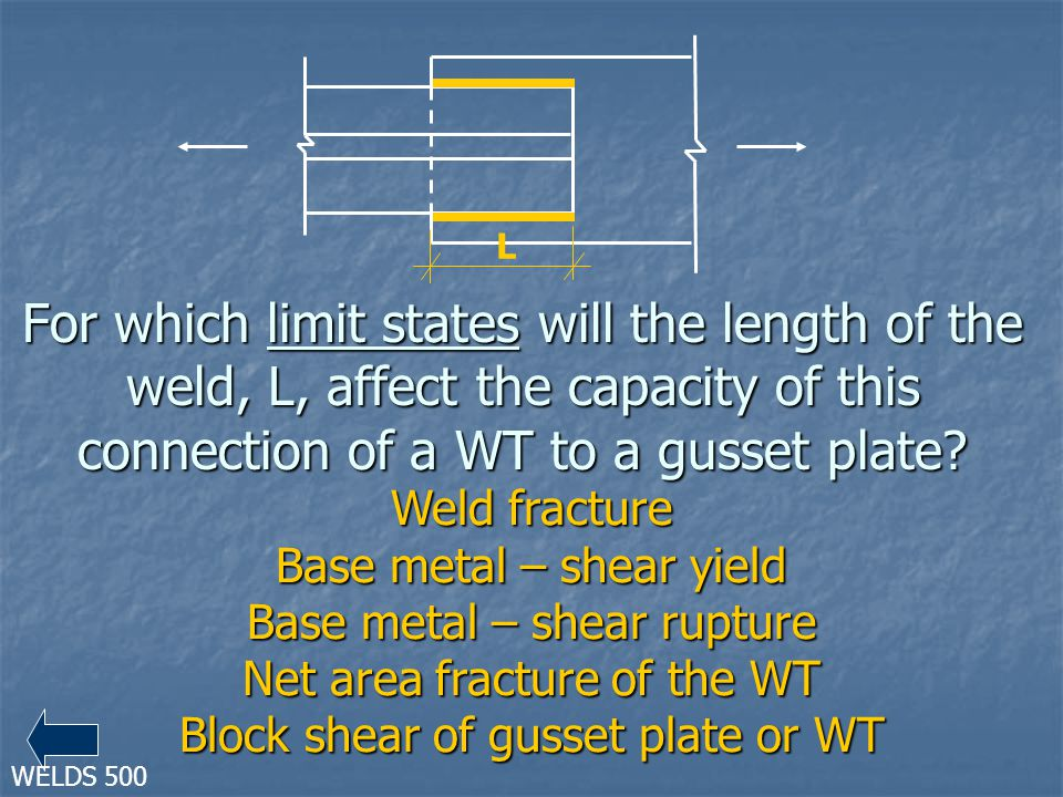 For which limit states will the length of the weld, L, affect the capacity of this connection of a WT to a gusset plate? Weld fracture Base metal – sh