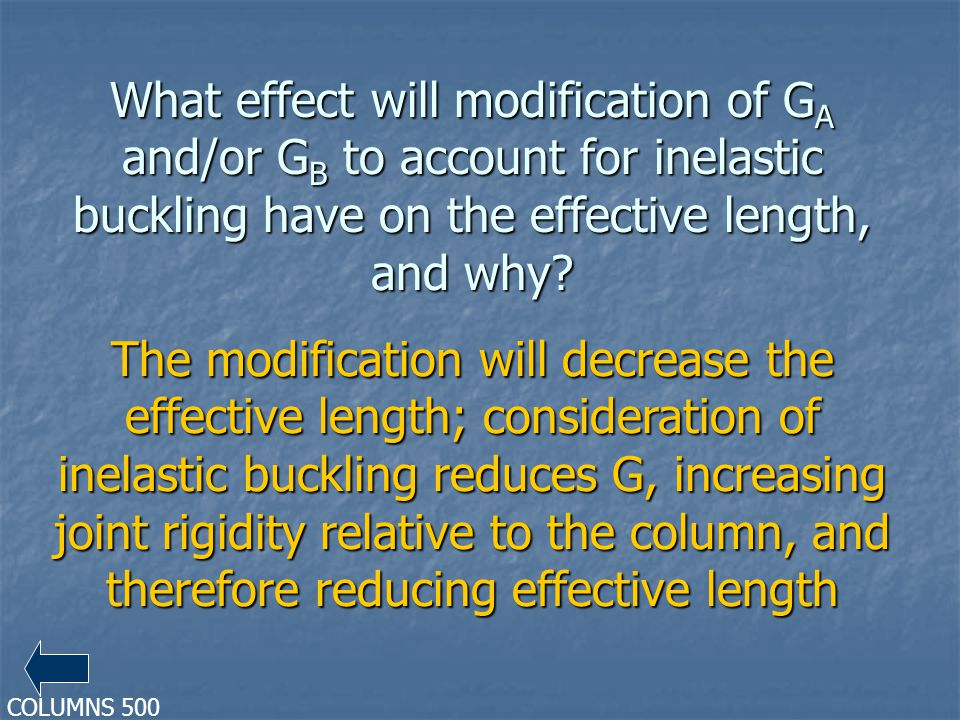 What effect will modification of G A and/or G B to account for inelastic buckling have on the effective length, and why.
