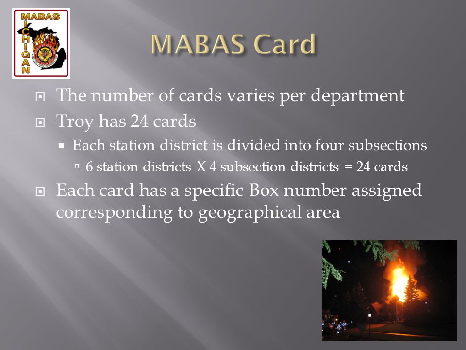 The number of cards varies per department Troy has 24 cards Each station district is divided into four subsections 6 station districts X 4 subsection