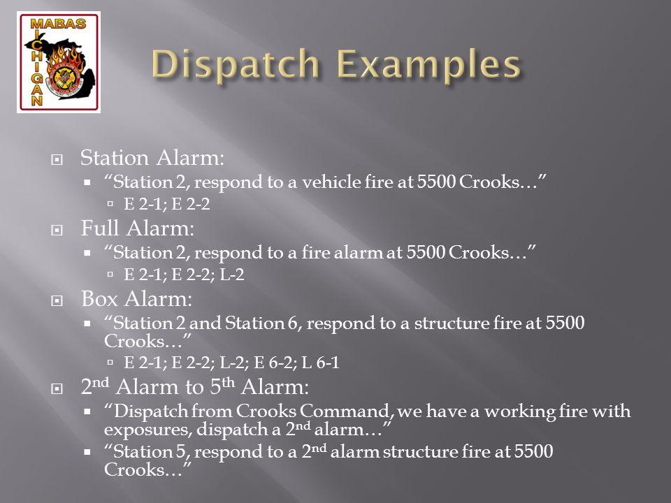 Station Alarm: Station 2, respond to a vehicle fire at 5500 Crooks… E 2-1; E 2-2 Full Alarm: Station 2, respond to a fire alarm at 5500 Crooks… E 2-1;