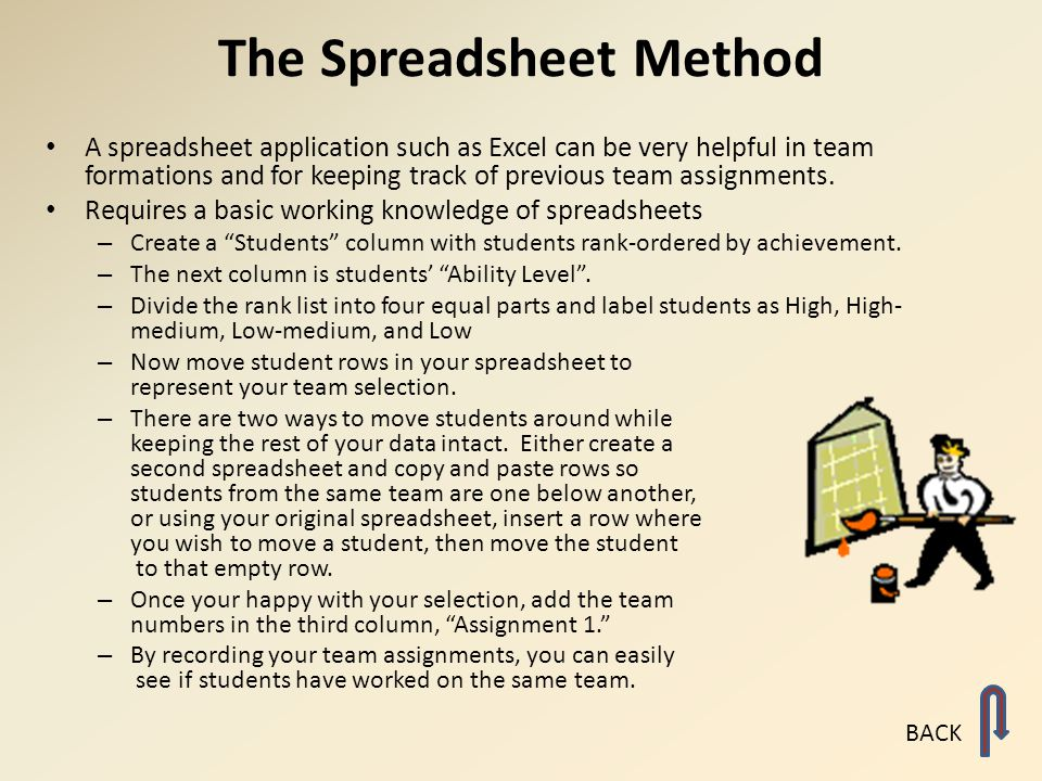 The Spreadsheet Method A spreadsheet application such as Excel can be very helpful in team formations and for keeping track of previous team assignmen