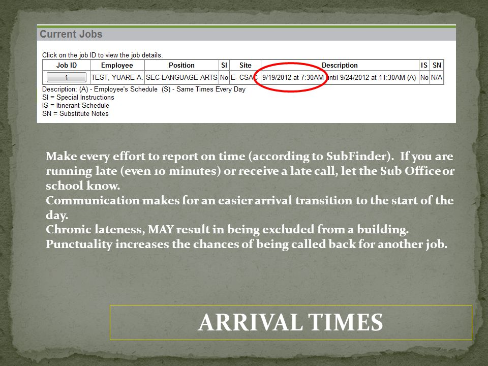 ARRIVAL TIMES Make every effort to report on time (according to SubFinder).