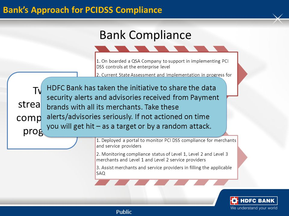 Public Banks Approach for PCIDSS Compliance Bank Compliance 1. On boarded a QSA Company to support in implementing PCI DSS controls at the enterprise
