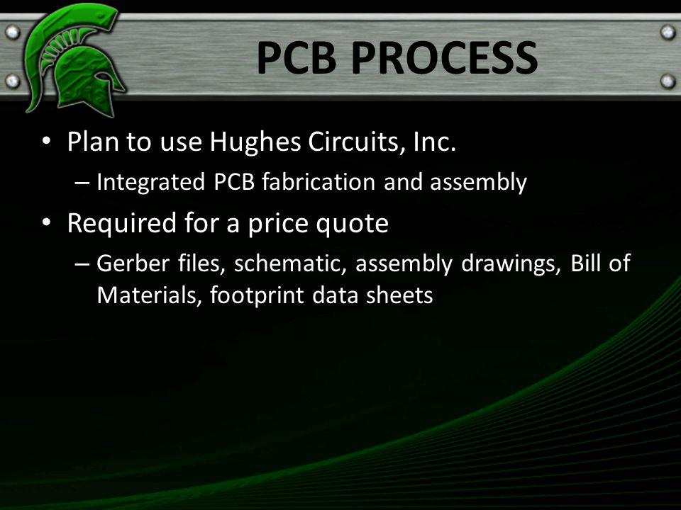 PCB PROCESS Plan to use Hughes Circuits, Inc.
