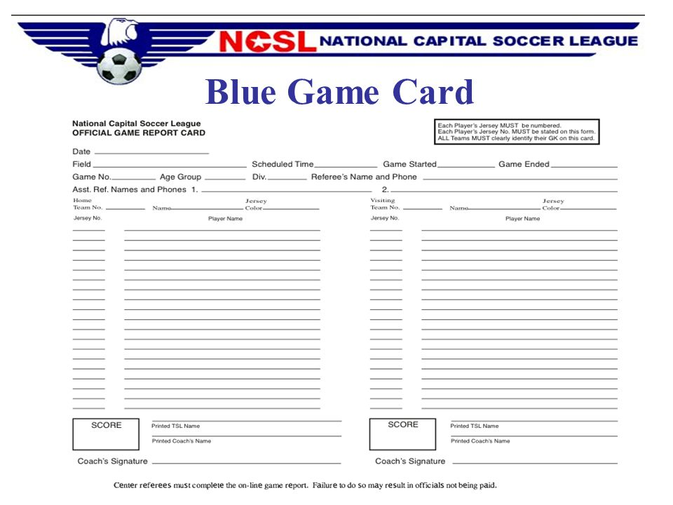 Blue Game Card