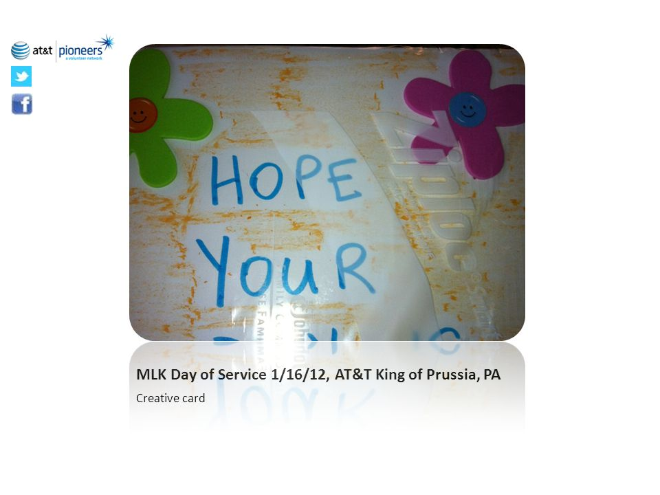 MLK Day of Service 1/16/12, AT&T King of Prussia, PA Creative card